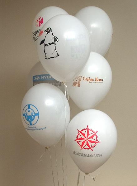 Ballonger med tryck - Vita