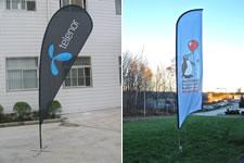 Populära reklamartiklar är strandflaggor eller fjäderflaggor som dom också kallas